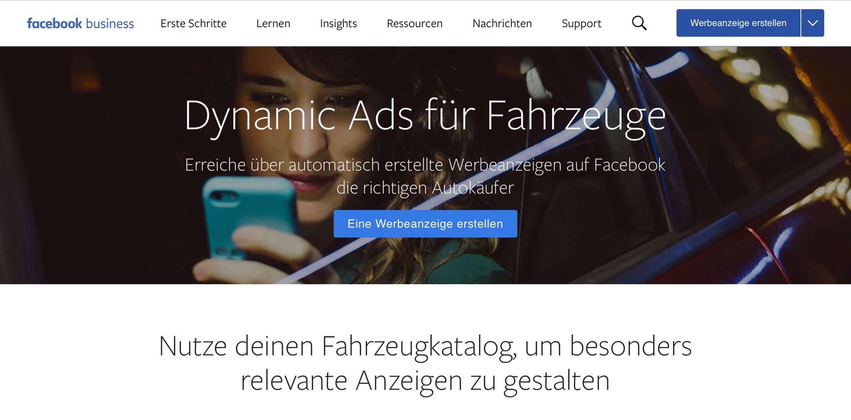 Dynamische Facebook Anzeigen, die sich aus dem Fahrzeugbestand des Autohändlers generieren.