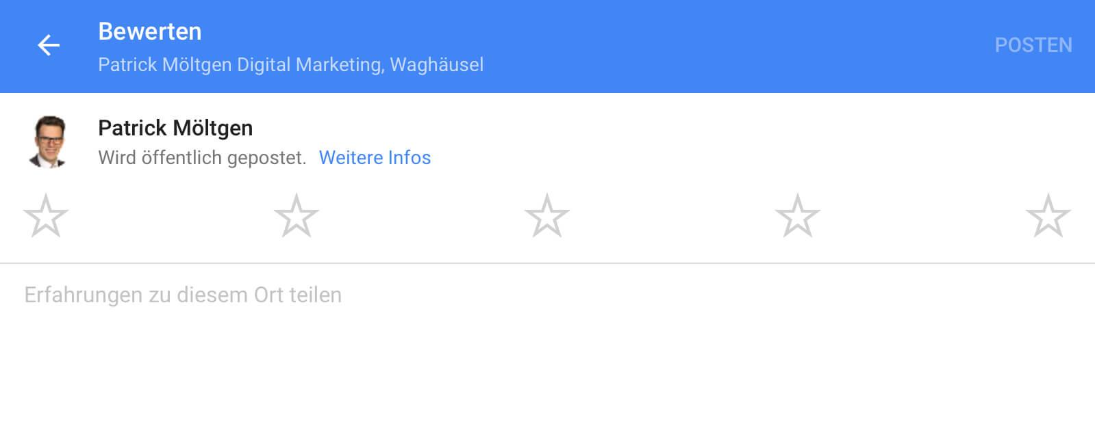 Der Direktlink führt direkt zur Bewertungsabgabe, sofern der Nutzer in seinem Google Konto bereits eingeloggt ist.