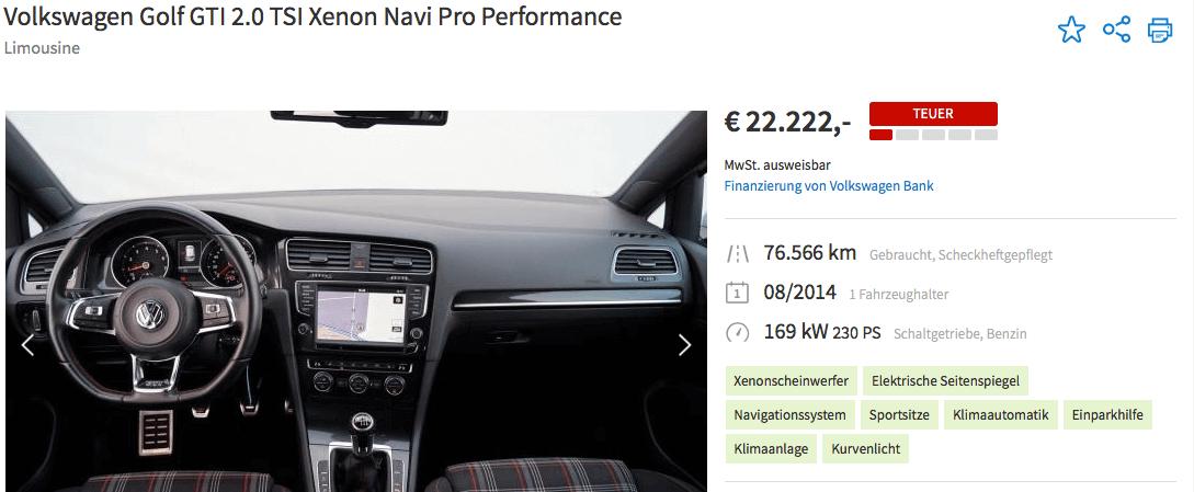 """Autoscout Preisbewertung """"zu teuer""""?"""