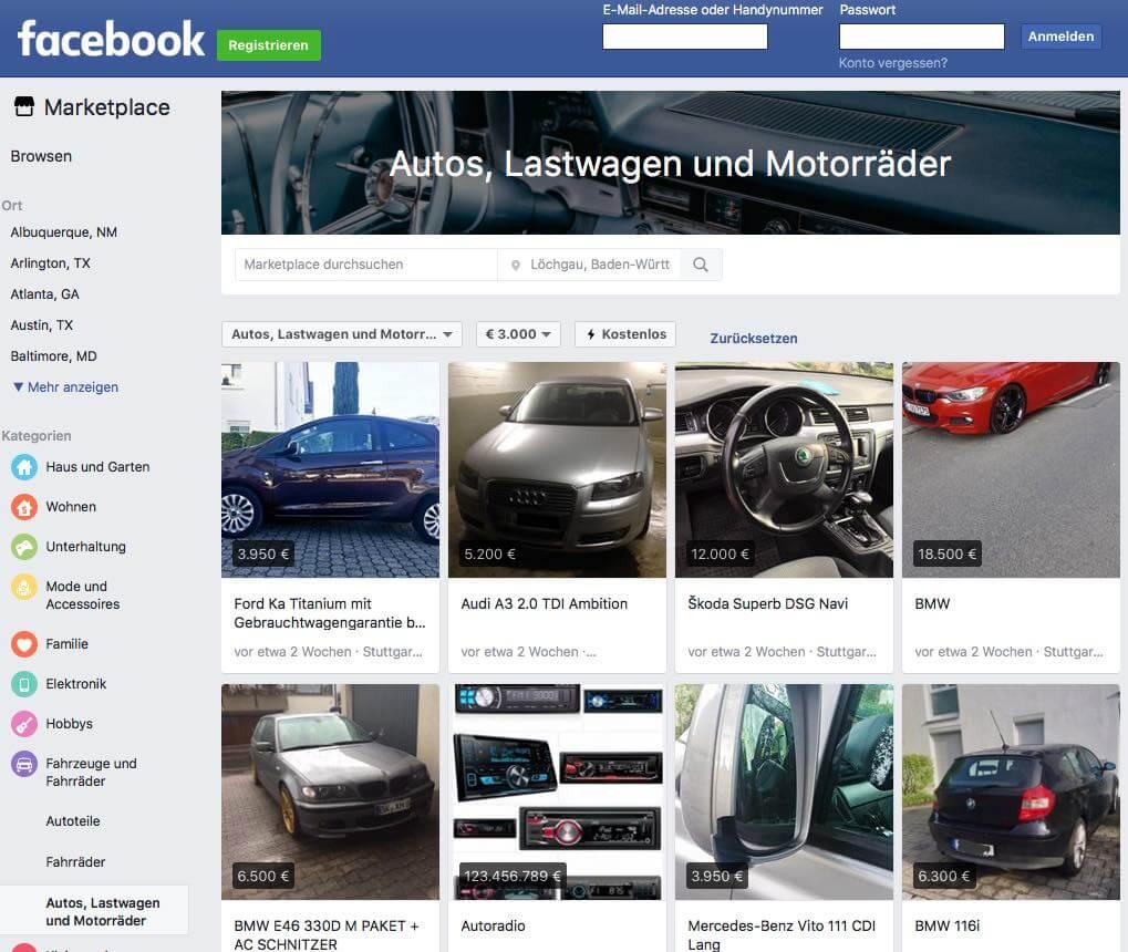 Facebook forciert den Autohandel und wird künftig zur Fahrzeugbörse