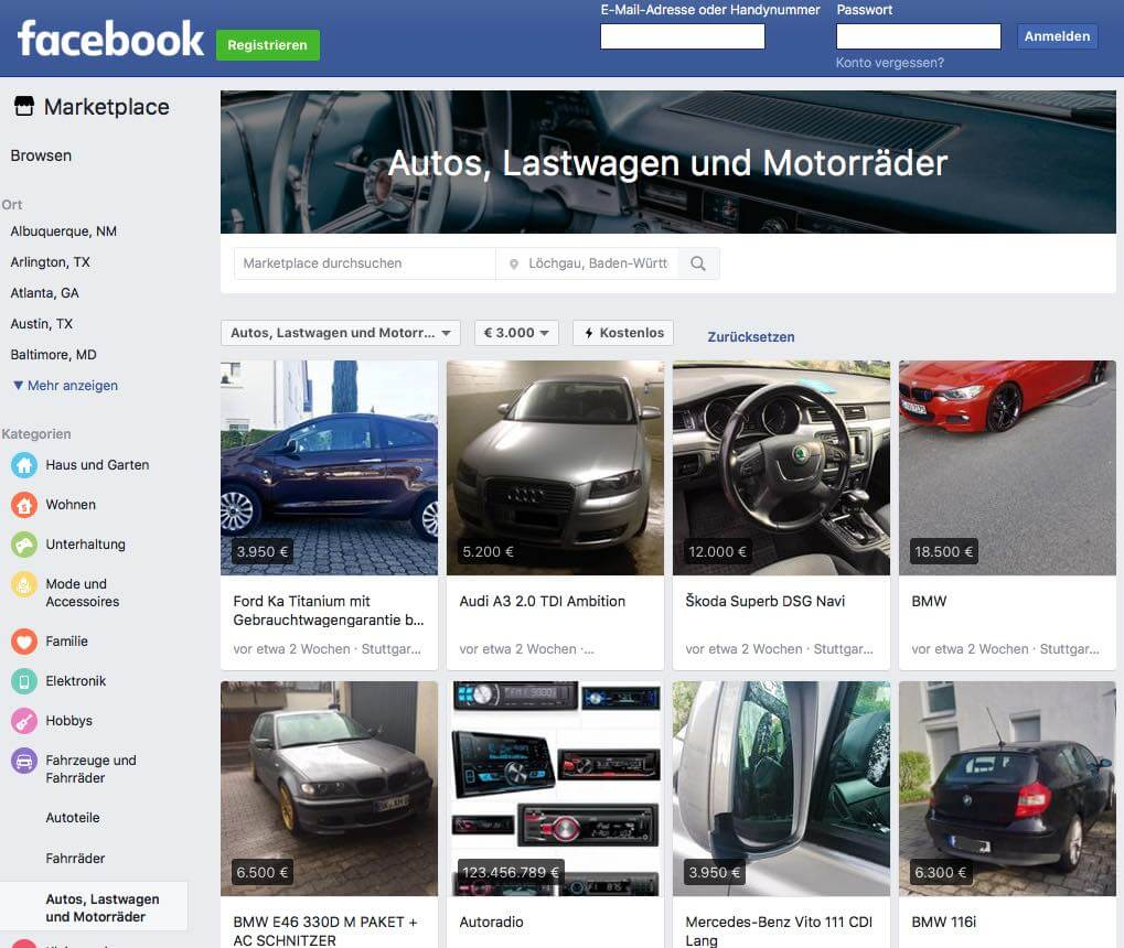 Facebook-Marketplace-mit-Fahrzeugen