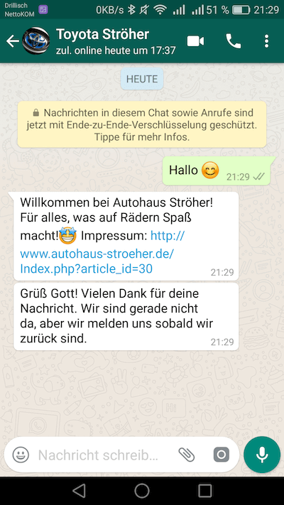 WhatsApp business begruessungsnachricht
