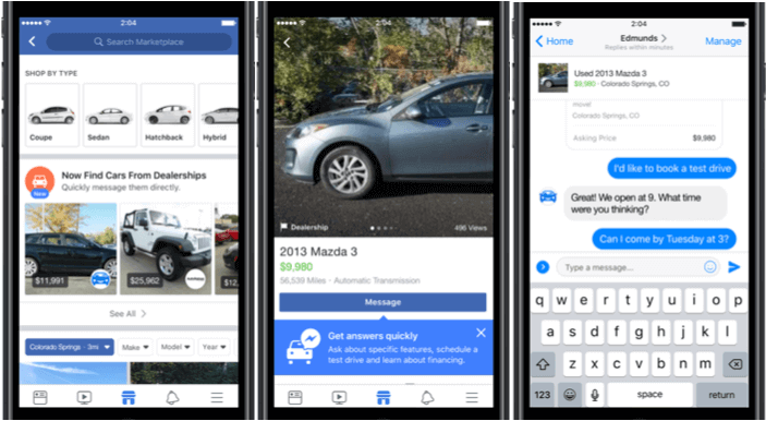 Facebooks Fahrzeugbörse Vehicles in den USA bereits live